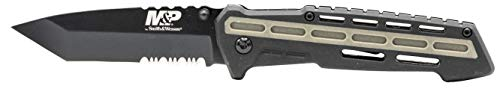 Smith & Wesson  1 Smith & Wesson M&P AR Overmold 8.2in High Carbon S.S. Folding Knife with 3.5in Serrated Tanto Blade and Rubber Handle for Outdoor Survival and EDC