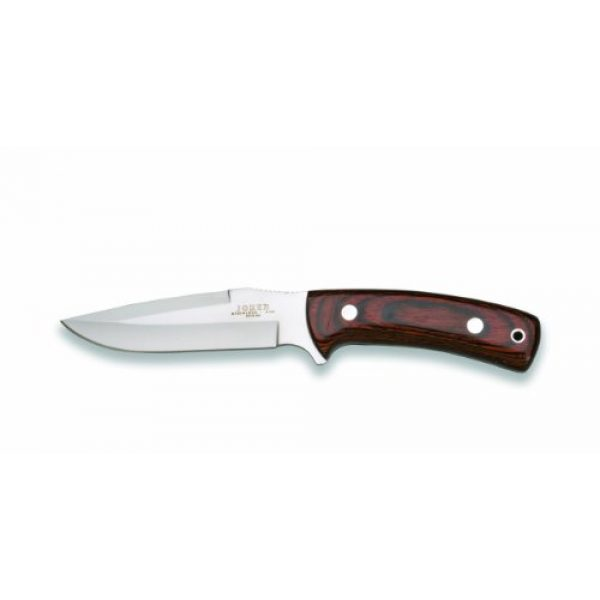 Joker Fixed Blade Survival Knife 1 Joker CR52USA Stainless Blade Hunting Knife and Red Wood Handle, 5.07-Inch