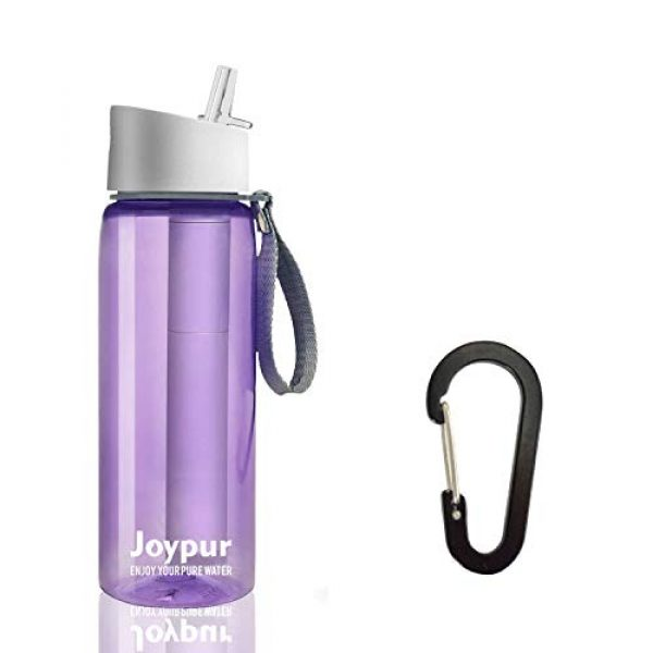 joypur Survival Water Filter 1 joypur Outdoor Filtered Water Bottle - BPA Free,with Filter Integrated 3 Stage Portable Water Bottle for Camping Travel Hiking Backpacking
