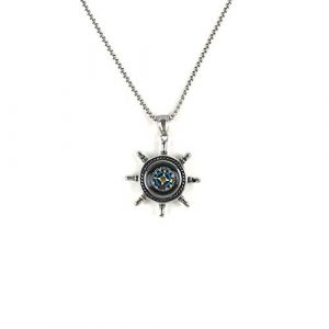 DETUCK  1 DETUCK(TM Rudder Compass Necklace Silver | Compass Gifts for Men Women Dad Mom | Compass Birthday Gift Men Boxes Wrap | Navigation Compass Camping Gift Hiking Gift