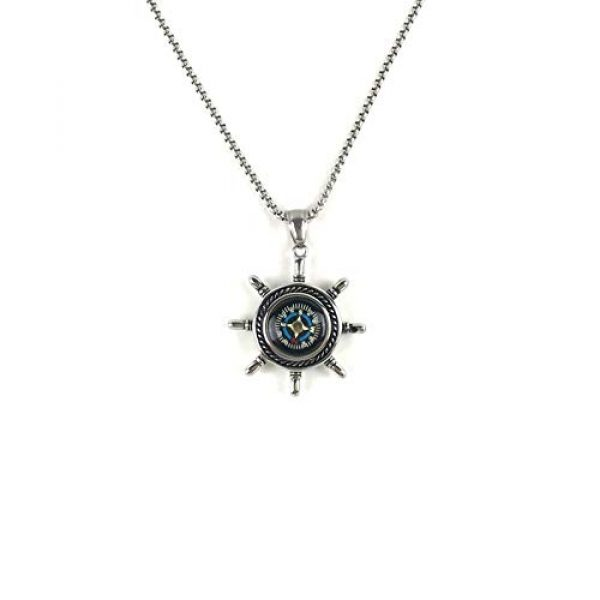 DETUCK Survival Compass 1 DETUCK(TM Rudder Compass Necklace Silver | Compass Gifts for Men Women Dad Mom | Compass Birthday Gift Men Boxes Wrap | Navigation Compass Camping Gift Hiking Gift