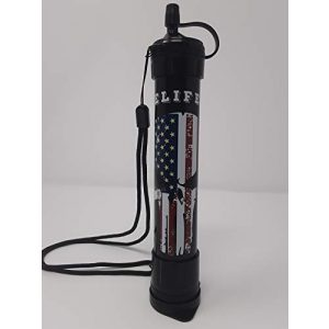 elife products Survival Water Filter 1 elife Water Filter Straw, 1000l, Black, American Flag, Survival kit Hiking, Camping, Travel