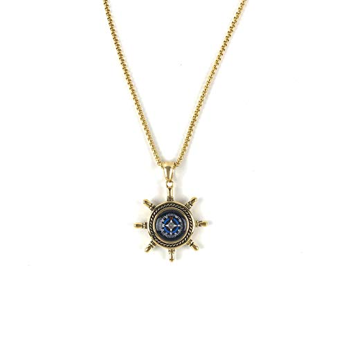 DETUCK  1 DETUCK(TM Rudder Compass Necklace Gold   Compass Necklace for Women Men Dad Mom   Compass Necklace Graduation Gift Birthday Gift Boxes Wrap