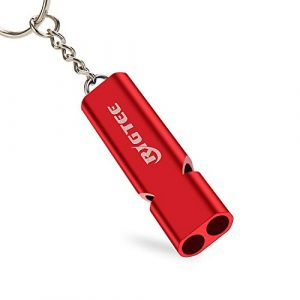 Rigtee Survival Whistle 1 Survival Whistle,Rigtee Aluminum Alloy Rescue Whistle with Neck Lanyard and Keyring Outdoor Emergency Survival Coach Whistles Referee Gear Lifeguard Loud Double Tubes Whistle (Red)
