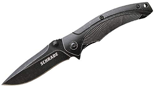 Schrade  1 Schrade SCH218 6.6in High Carbon Stainless Steel Folding Knife with 2.9in Drop Point Blade and Aluminum Handle for Outdoor Survival