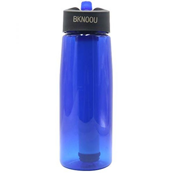 BKNOOU Survival Water Filter 1 BKNOOU Water Filtering Bottle 2-Stage Filter Straw Water Purifier Bottle for Camping Hiking Outdoor Traveling Sports Backpacking
