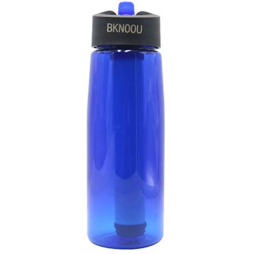 BKNOOU  1 BKNOOU Water Filtering Bottle 2-Stage Filter Straw Water Purifier Bottle for Camping Hiking Outdoor Traveling Sports Backpacking