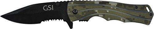 "GSI Tactical  1 GSI Tactical Camo Blackout Ops Folding Knife 4.5"" Closed"