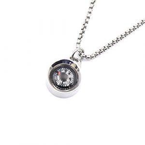 DETUCK Survival Compass 1 DETUCK(TM Silver Compass Necklace, Navigation Compass Necklace for Women Men Best Friends, Necklace Compass Stylish Jewelry Gift Wrap