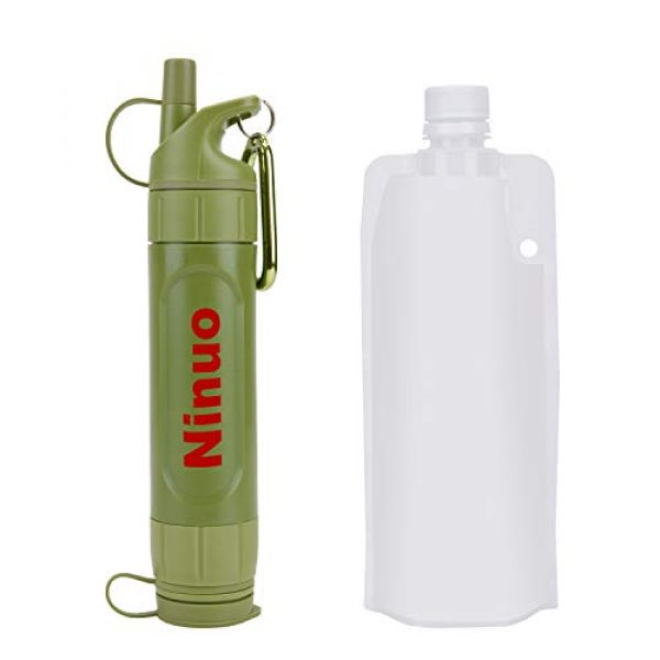 Ninuo Survival Water Filter 1 Ninuo Mini Water Filter - Portable Water Purifier, Personal Filtration System for Camping, Backpacking, Hiking, Emergency & Survival