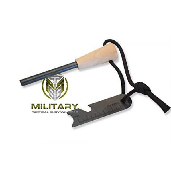 """MTSG Military Tactical Survival Gear Survival Fire Starter 1 MTSG Military Tactical Survival Gear 5/16"""" Fire Starter Thick Bushcraft Fire Steel with Hand Crafted Wood Handle 12,000+ Strikes Traditional Ferro Rod"""