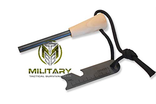 "MTSG Military Tactical Survival Gear  1 MTSG Military Tactical Survival Gear 5/16"" Fire Starter Thick Bushcraft Fire Steel with Hand Crafted Wood Handle 12"