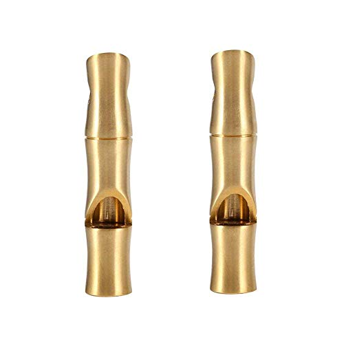 VGEBY  1 VGEBY 2Pcs Mini Survival Brass Whistles Loud Signal Whistles Bamboo Joint Whistles for Camping Hiking