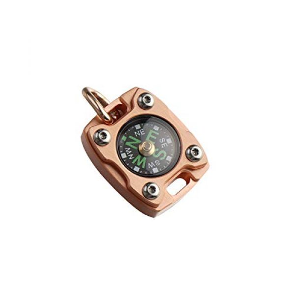 MecArmy Survival Compass 1 MecArmy CMP2-T High Sensitivity EDC Compass, Mechanical Instrument Inspired Design with Exquisite Engrave, Fluorescence Glow in The Dark Free Beaded Chain Worn as a Pendant