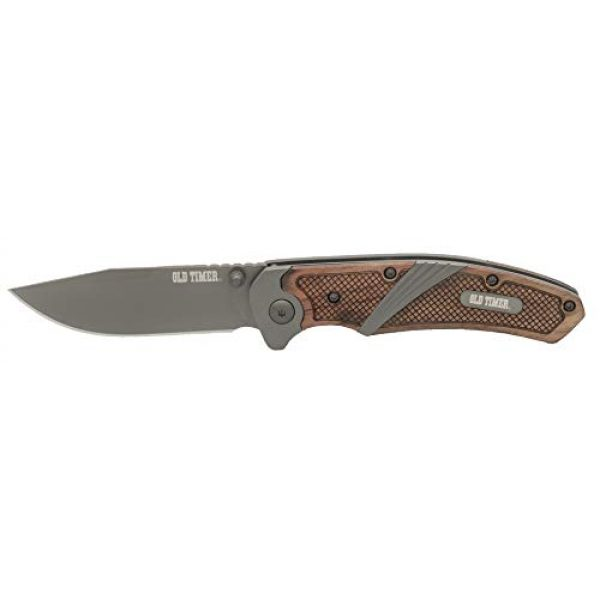 Old Timer Folding Survival Knife 1 Old Timer OT Wood 7in High Carbon S.S. Spring Assisted Folding Knife with a 3in Drop Point Blade and Ironwood Handle for Outdoor, Hunting, Camping and EDC