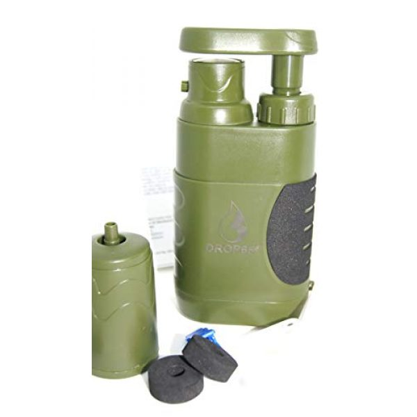 DROP65 Survival Water Filter 1 DROP65 Water Filter Filtration Purifier Portable Hand Operated Pump Purification System for Backpacking Survival Camping Hiking Emergency Disaster for Home or Outdoors