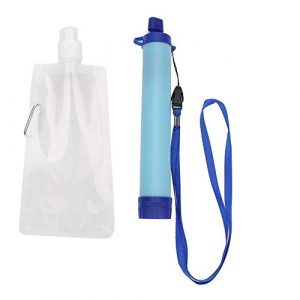 Zetiling Survival Water Filter 1 Filter Straw, Portable Water Purifier Emergency Preparedness Supply Drinking Tool Accessory for Camping Hiking