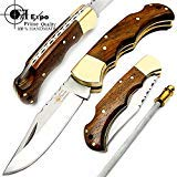 F&f Expo  1 F&f Expo Rose Wood 6.5'' Handmade Stainless Steel Folding Pocket Knife Brass Bloster With Back Lock 100% Top Quality