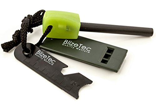 BlizeTec Survival Fire Starter 1 BlizeTec Fire Starter: Best 6-in-1 Magnesium Emergency Fire Starter with Luminous Green Handle, Mini Ruler, Bottle Opener, Serrated Edge and Rescue Whistle; Last Up to 12,000 Strike