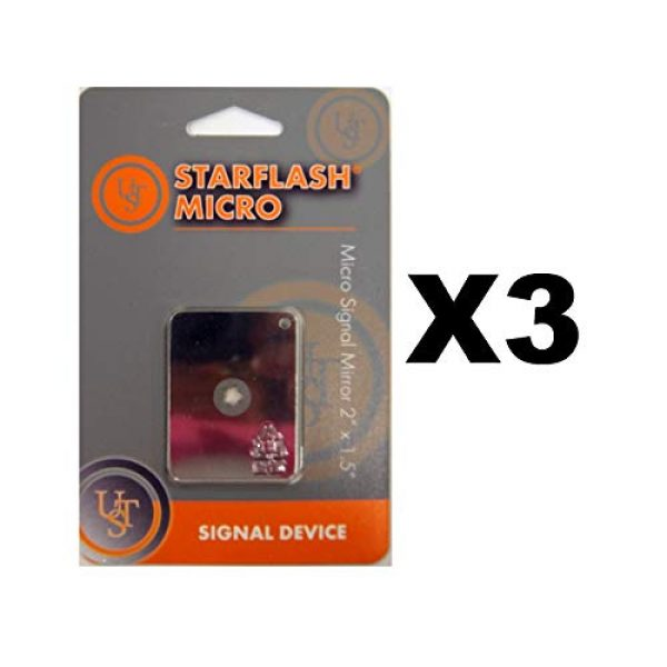 """Ultimate Survival Technologies Survival Signal Mirror 1 Ultimate Survival Technologies StarFlash Micro Signal Mirror 2""""x1.5"""" (3-Pack)"""