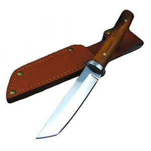 Promithi  1 Promithi Fixed Blade with Leather Sheath Wooden Handle Japanese 9CR 18MOV Outdoor Fishing Knife Jungle Hunting Knife Camping Tactical Wood Working Knife