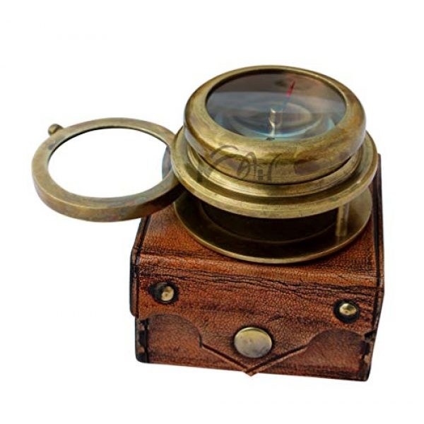 MAH Survival Compass 1 MAH Magnifying Glass Brass Compass with Case. C-3259