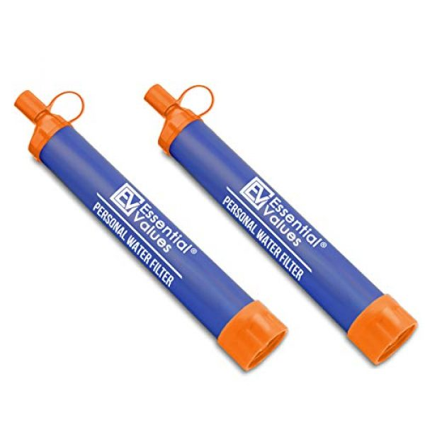 Essential Value Survival Water Filter 1 Essential Value 2 Pack Personal Water Filter - Perfectly Sized Water Straw with Bottle Attachment Technology - Excellent for Hiking | Backpacking | Camping & Emergency Water Survival Situations