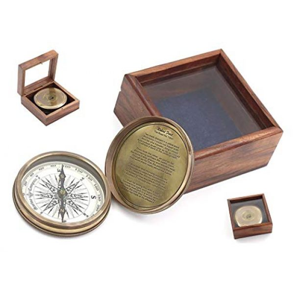 """Roorkee Instruments India Survival Compass 1 ROORKEE INSTRUMENTS (INDIA) A NAUTICAL REPRODUCTION HOUSE 3"""" Robert Frost Poem Compass with Glass Top Hardwood Box"""