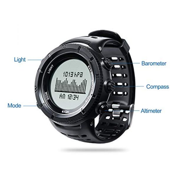 EZON Survival Compass 9 EZON Men's Digital Sports Watch for Outdoor Hiking with Compass Altimeter Barometer Thermometer Waterproof Military Watch Wristwatch H001H11