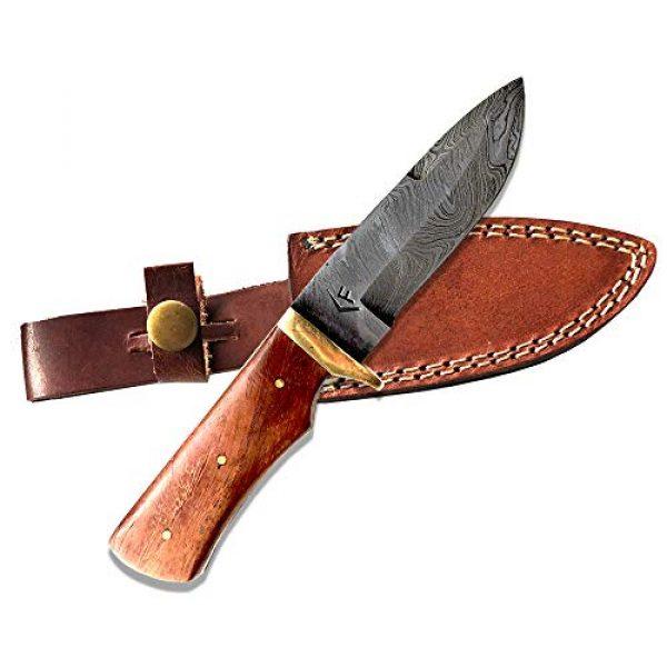 "Fellmark Fixed Blade Survival Knife 1 Fellmark Damascus Steel Hunting Knife with Sheath Kratt Scandi Grind Bushcrafting Knife 7.9"" Full Tang Camping Blade"