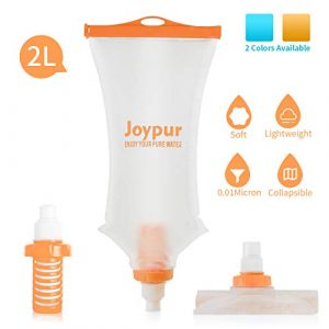 joypur  1 joypur Collapsible 0.01 Micron Water Bottle with Filter 3-Stage Integrated Camping Water Purifier for Travel Hiking Backpacking Endurance Sports