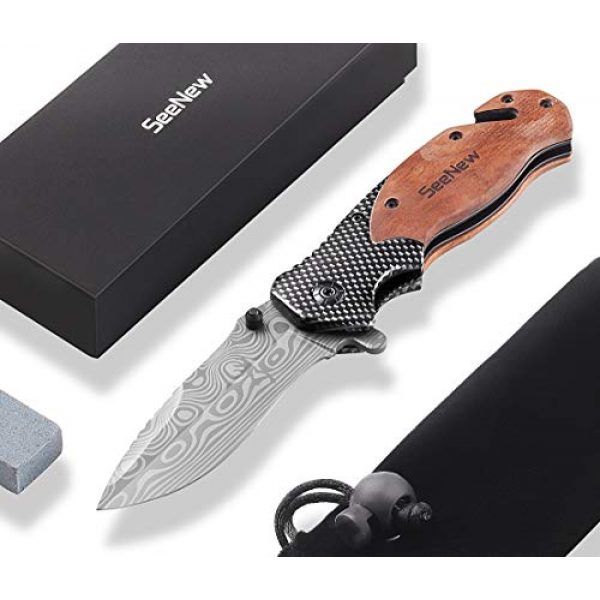 Seenew Folding Survival Knife 1 Rescue Pocket Knife with Flipper, Survival Folding Knife with Seat Belt Cutter and Glass Breaker, Outdoor Sturdy Tactical Pocket Knife with Steel Blade, Thumb Stud and Clip
