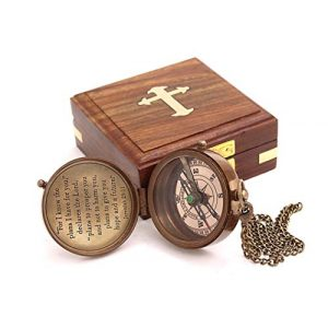 Roorkee Instruments India Survival Compass 1 Roorkee Instruments India for i Know The Planes I Have for You Quote Engraved Compass with Wood Box,Jeremiah 29 11, Baptism Gifts, Gift for Him, Birthday, Fathers Day, Graduation Gift, Gift for Son