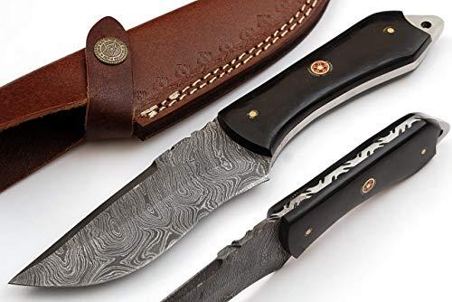 SharpWorld  1 SharpWorld Beautiful Damascus Knife Made of Remarkable Damascus Steel Buffalo Horn Handle -Best Hunting Knife with Brown Sheath TJ110