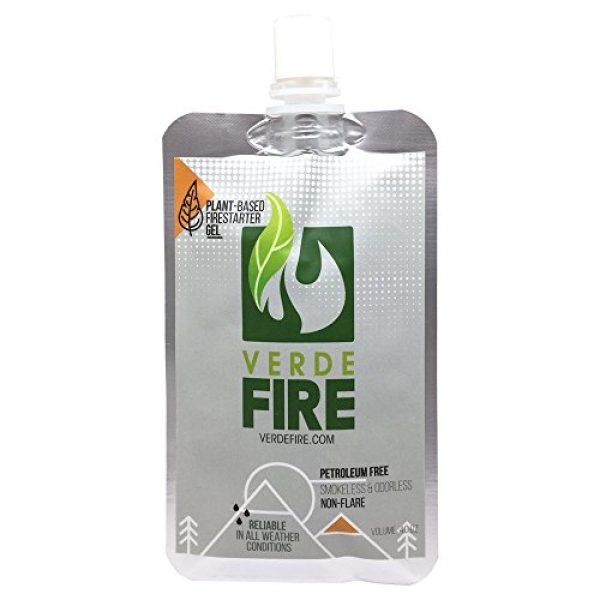 Verde Fire Survival Fire Starter 1 Fire Starter Gel - Instant Lighting Gel for Campfires, Barbecue, Emergency Survival   Non-Toxic, Smokeless & Natural - All Weather Fire Gel