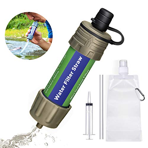 SGODDE  1 SGODDE Gravity Water Filter Straw Ultralight Versatile Hiker Water Filter Optional Accessories. Hurricane Storm or Flood Risk Supplies Emergency Kit