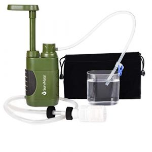 SurviMate  1 SurviMate Portable Water Filter Pump for Hiking Camping Travel Emergency use with Activated Carbon & 3 Filter Stages (Green) (Pump)