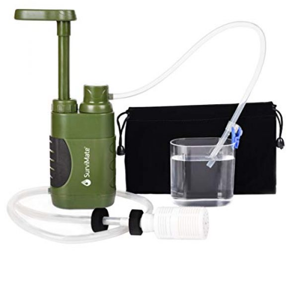 SurviMate Survival Water Filter 1 SurviMate Portable Water Filter Pump for Hiking Camping Travel Emergency use with Activated Carbon & 3 Filter Stages (Green) (Pump)