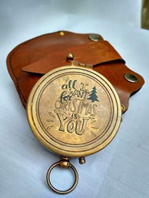 Antiqula Survival Compass 1 All I Want for Christmas is You Engraved Brass Antique Look Vintage Compass with Real Leather Case Antishock Outdoor Camping Hiking Home Decor staedtler Compass for Kids