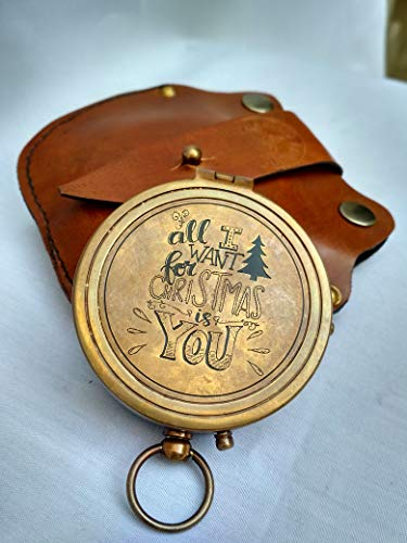 Antiqula  1 All I Want for Christmas is You Engraved Brass Antique Look Vintage Compass with Real Leather Case Antishock Outdoor Camping Hiking Home Decor staedtler Compass for Kids