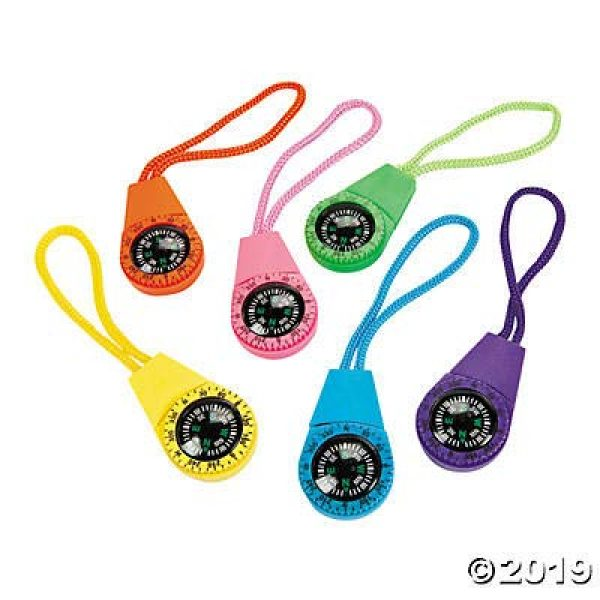 Fun Express Survival Compass 1 Neon Compass On Cord (1 Dozen) - Bulk Novelty Toy