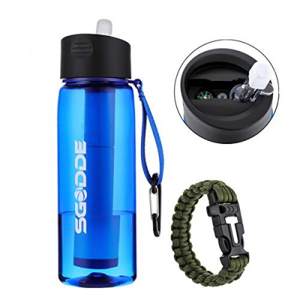 SGODDE Survival Water Filter 1 SGODDE Water Filter Bottles, Filtered Water Bottle with 4-Stage Integrated Filter Straw BPA Free for Hiking, Camping, Backpacking and Travel