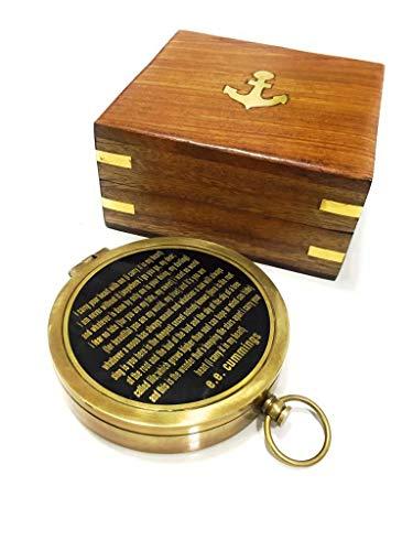 NauticalMart  1 NauticalMart Brass Compass with Rosewood Case Engraved Poem Compass Handmade Baptism Gifts