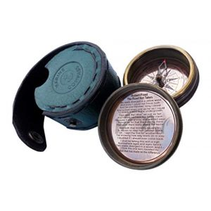 MAH Survival Compass 1 MAH ''Robert Frost Poem'' Engraved Antiquated Finish Brass Compass with Case. C-3013