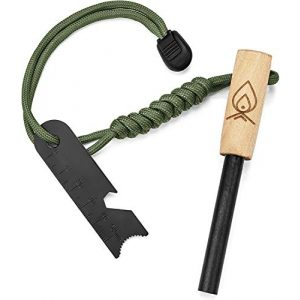 """Texas Bushcraft Survival Fire Starter 1 Texas Bushcraft Fire Starter - 3/8"""" Thick Ferro Rod with Striker and Paracord Wrist Lanyard Waterproof Flint Fire Steel Survival Lighter and Multitool for Your Camping, Hiking and Backpacking Gear"""