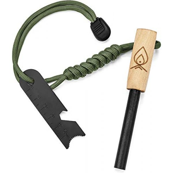 "Texas Bushcraft Survival Fire Starter 1 Texas Bushcraft Fire Starter - 3/8"" Thick Ferro Rod with Striker and Paracord Wrist Lanyard Waterproof Flint Fire Steel Survival Lighter and Multitool for Your Camping, Hiking and Backpacking Gear"