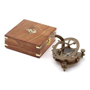 Roorkee Instruments India Survival Compass 1 Best Presents for Him/ Vintage Brunished Brass Compass with Wooden Box/ West London Directional Magnetic Compass for Navigation/Sundial Pocket Compass for Camping, Hiking, Touring