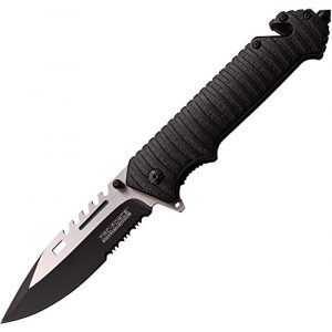 "TAC Force Folding Survival Knife 1 TAC Force TF-916BK Spring Assist Folding Knife, Two-Tone Half-Serrated Blade, Black Handle, 5"" Closed"