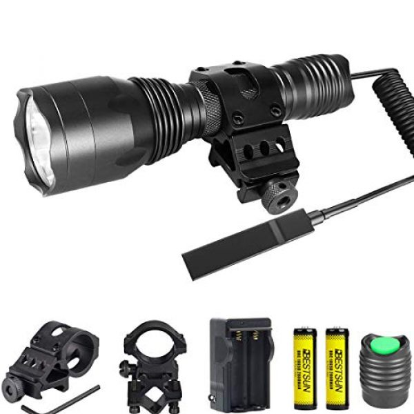 BESTSUN Survival Flashlight 1 Tactical Flashlight 1200Lumens Waterproof Cree L2 LED Single Mode Hunting Light with Picatinny Rail 45° Offset Side Mount & Barrel Rifle Mount, Pressure Switch, Rechargeable Batteries and Charger