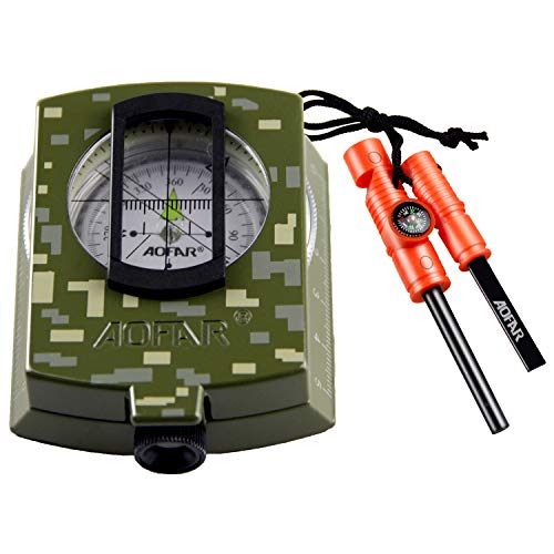 AOFAR Survival Fire Starter 1 AOFAR AF-4580/381 Military Compass Lensatic Sighting and Fire Starter Survival Kit,Waterproof and Shakeproof Measurer Distance Calculator and Pouch for Camping, Hiking, Hunting, Backpacking